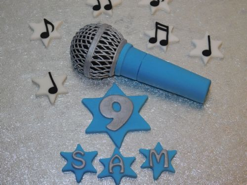 Blue Microphone Cake Topper, Music Notes Name & Number